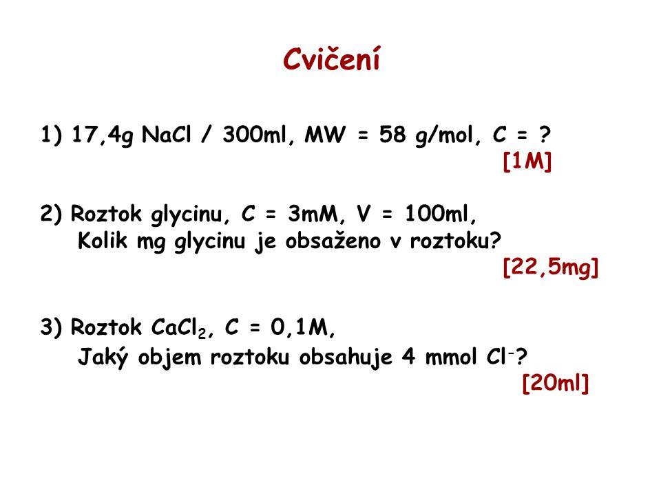 Cvičení 1) 17,4g NaCl / 300ml, MW = 58 g/mol, C = [1M]